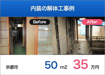 内装の解体工事例 京都市 50m2 35万